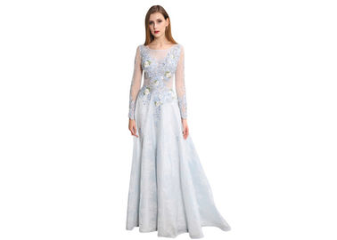 China Sexy Open Back See Through Long Sleeve Evening Gowns Embroidered Flower Pattern supplier