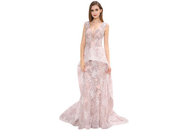 China Pink Appliqued Lace Sleeveless Arabic Wedding Guest Dresses Long Prom Gown supplier