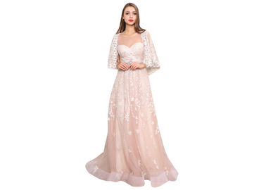 China Breathable Lace Elegant Tulle Pink Bridesmaid Dresses Long With Shawl supplier