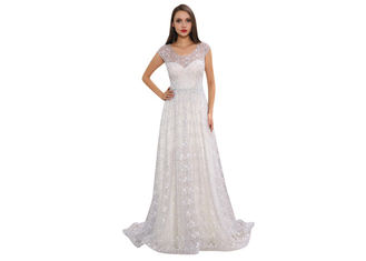 China Backless White  Wedding Bridesmaid Dresses Embroidery Lace Long Dress supplier