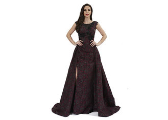China Beading Sequin Vintage Middle Eastern Evening Dresses Marroon Color Floor Length supplier