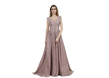 China Mocha Color Embroidery Wedding Bridesmaid Dresses Floor Length / Ladies Prom Dresses supplier
