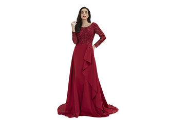 China Women Clothes O Neck China Red Long Sleeve Evening Gowns / Applique Maxi Dress supplier