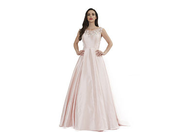 China Simple Elegant Satin Fabric Sleeveless Ball Gown Baby Pink European Style supplier
