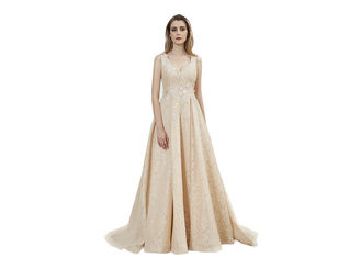 China Beige Color Sleeveless Prom Party Dress / V Neck Backless Long Maxi Gown supplier
