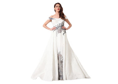 China Elegant White Embroidery Long Muslim Wedding Dress Off The Shoulder supplier