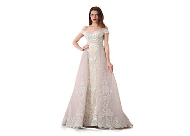 China Short Sleeve Arabic Evening Dresses For Ladies / Sweetheart Off Shoulder Long Ball Gowns supplier