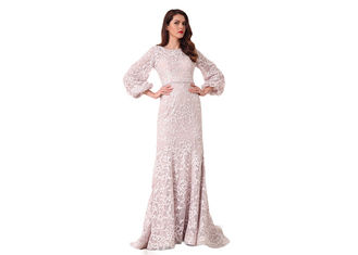 China Three Quarter Sleeve Sweep Train Muslim Evening Dress Mermaid Style supplier