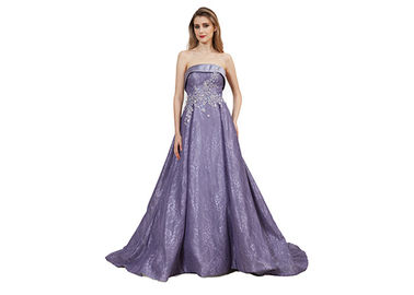 China Chest Wrap Middle Easter Evening Dresses , Purple Color Sleeveless Ball Gown supplier