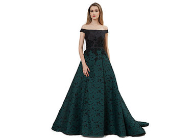 China Boat Neck Arabic Evening Ball Gowns Tapestry Fabric Comfortable Dark Green supplier