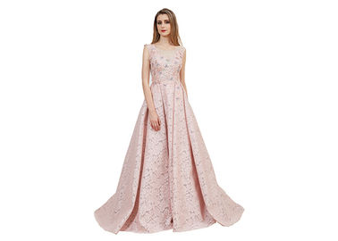China Luxury Dusty Pink Prom Party Dress / Backless V Neck Arabic Bridesmaid Dresses supplier