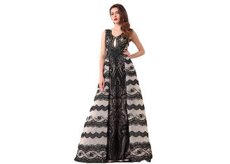 China Upscale Royal Vintage Evening Dresses / Black Lace Muslim Ball Gowns supplier
