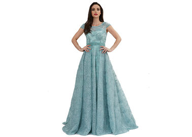 China Sparkling Shiny Arabic Short Sleeve Ladies Evening Dresses Green Color Custom Size supplier