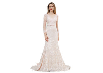 China Lace Fabric Beaded Long Sleeve Evening Gowns / Mermaid Muslim Evening Dress supplier