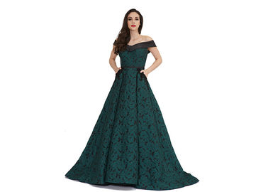 China Elegant Greene Vening Dresses For Women / V Neck Long Muslim Formal Dress supplier