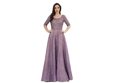 China Purple Beading U Neck Muslim Evening Dress Floor Length Half Sleeve supplier