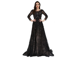 China Brilliant Vintage Evening Dresses , Women Upscale Long Sleeve Evening Gowns supplier