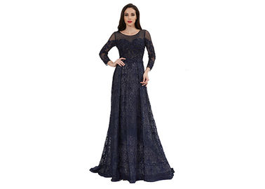 China Royal Blue Long Sleeve Evening Gowns , Arabic Long Evening Dress supplier