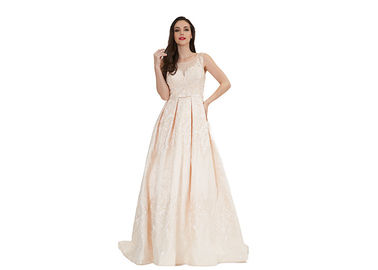 China Apricot Coloured Sleeveless Evening Dress / Long Style Beading Ball Gowns supplier
