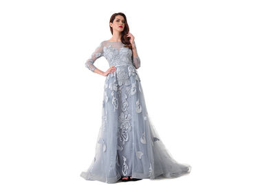 China Backless Sexy Tulle Long Sleeve Evening Gowns Built - In Bra Light Blue supplier