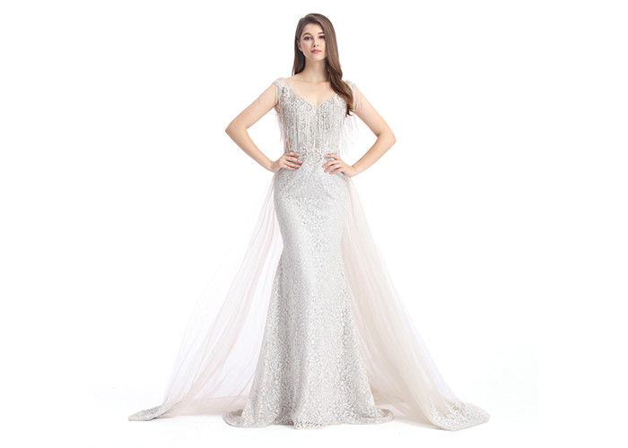 Silver Tulle Beaded Embroidery Arabic Evening Dresses For Wedding Party