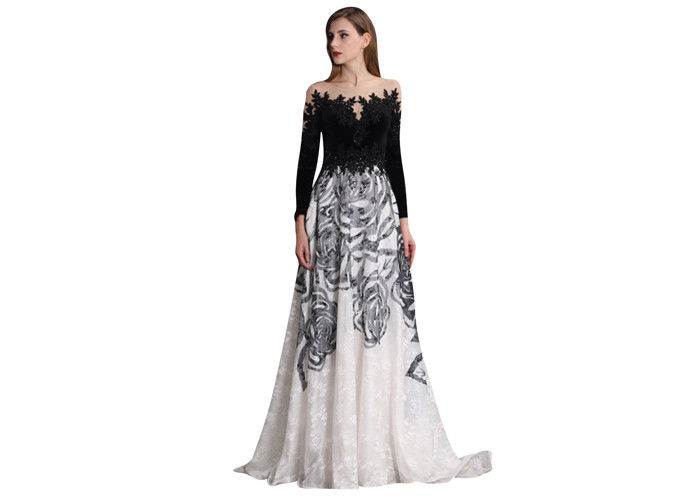 40ca2b410288 Embroidery Long Sleeve Muslim Evening Dress Sequin Ball Gowns 100% Polyester
