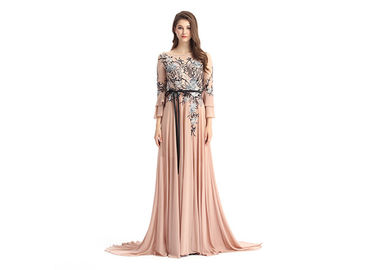 Good Quality Ladies Evening Dresses & Multi Colors Prom Dresses With Sleeves Flower Fish Cut Appliqued Style on sale