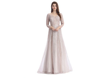 Good Quality Ladies Evening Dresses & Champagne Fluffy Arabic Style Dress , Long Sleeve Arabic Wedding Dress on sale