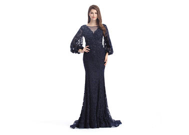 Saudi Arabic Mermaid Long Sleeve Evening Gowns Off - Shoulder Muslim Sexy Style