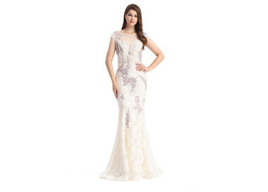 Good Quality Ladies Evening Dresses & Polyester And Spandex Long White Evening Dress , 62 Inch Simple Evening Dress on sale