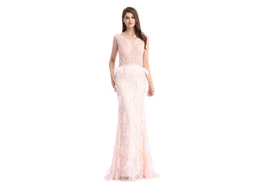 Good Quality Ladies Evening Dresses & Embroidery Beading Pink Long Evening Dresses , Ladies Long Evening Dresses With Pinion on sale