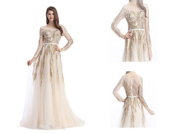 China Ladies Long Sleeves Vintage Evening Gowns , Multi Color Vintage Party Dresses factory
