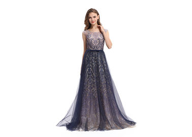 China Sequin Elegant Party Dresses For Women , A - Line Sleeveless Long Sleeve Evening Dresses factory