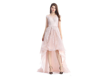 China Pink Lace Grace European Evening Gowns , Lace Evening Dresses For Wedding factory