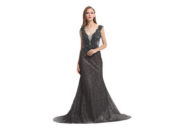 Good Quality Ladies Evening Dresses & Deep V Neck Sequined Vintage Evening Dresses For Formal Party Sleeveless on sale