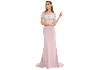 China Pink Tight Long Arabic Wedding Party Dresses Short Sleeve U - Neck With Embroidery Decoration factory