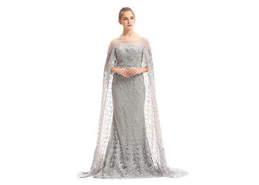 China Embroidery Lace Muslim Evening Dress With Long Cape / Grey Prom Dress factory