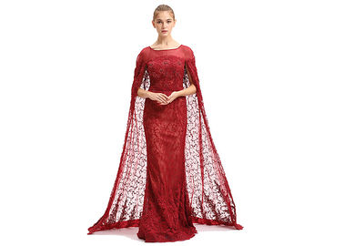 China Big Red Embroidery Lace Arabic Maxi Wedding Bridesmaid Dresses Floor Length factory