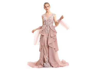 China Unique Inki Pink Long Arabic Evening Dresses / Flower Decor Muslim Party Gown factory