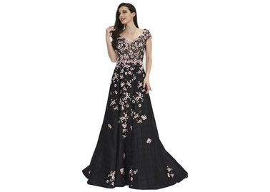 China Organza Embroidery Flower Ladies Evening Dresses , Black Arabic Evening Gowns Dresses factory