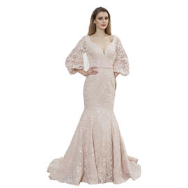 China Three Quarter Sleeve Sexy Women Arabic Wedding Party Dresses Mermaid Style factory