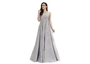 China Grey Color Beading Muslim Evening Dress , Lace Middle East Prom Dress factory