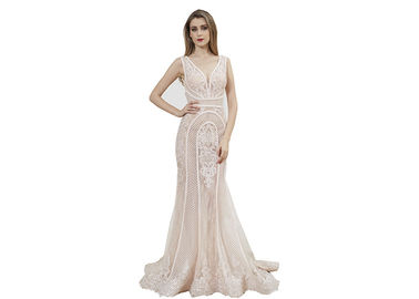 China Royal Princess Light Pink Middle Eastern Evening Dresses / Mermaid Bridesmaid Dress factory