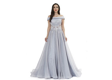China Grey Blue Off The Shoulder Maxi Evening Dresses Tulle Organza Fabric Type distributor