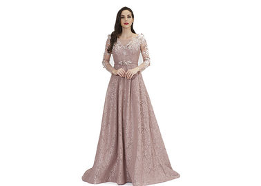 China Floor Length Long Sleeve Muslim Lace Prom Dress / Party Dresses For Women factory