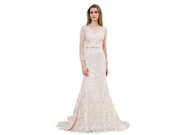 China Lace Fabric Beaded Long Sleeve Evening Gowns / Mermaid Muslim Evening Dress distributor