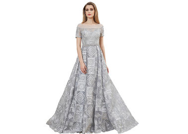 China Grey Color Muslim Evening Short Sleeve Ball Gown / Ladies Arabic Party Dress distributor