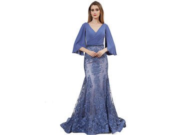 China Blue Color Simple Europe Style Half Sleeve Evening Dresses / Mermaid Prom Party Gown distributor