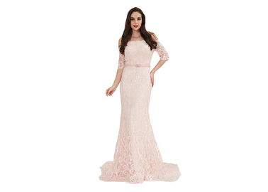 China Baby Light Pink Sequin Half Sleeve Evening Gown Women Wear Customized Size distributor