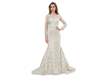 China European Style Long Ball Gown Wedding Dresses Lace Mermaid Design Champagne Color distributor